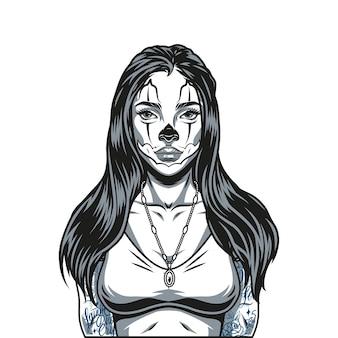 手にペンダントの長い髪の入れ墨と猫の顔メイク孤立したベクトル図を持つかわいい女の子のヴィンテージモノクロコンセプト