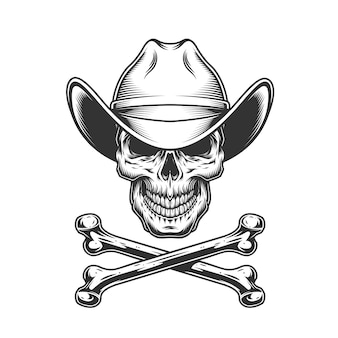 Vintage monochrome cowboy skull and crossbones