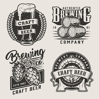 Vintage monochrome craft beer badges