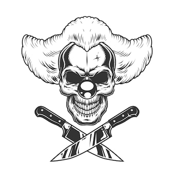 Vintage monochrome creepy clown skull