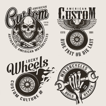 Vintage monochrome custom motorcycle labels