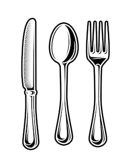 Vintage monochrome cutlery set
