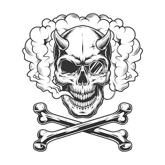 Pince-nez와 빈티지 흑백 악마 두개골