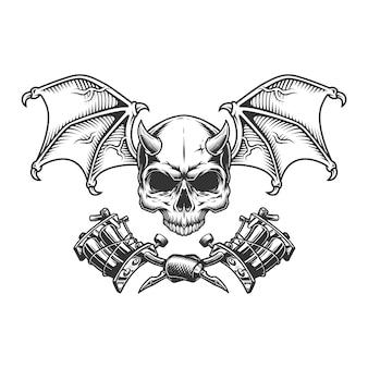 Старинный монохромный демонический череп с крыльями