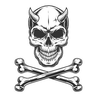 Винтажный монохромный демонический череп