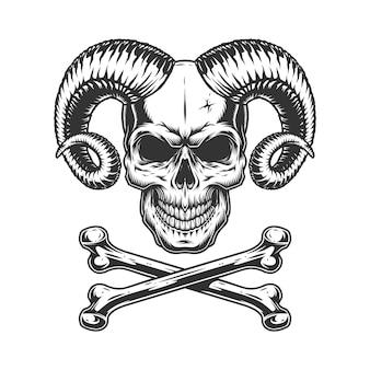 Винтажный монохромный череп дьявола
