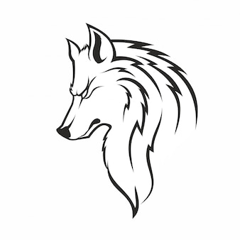 Vintage monochrome fashionable wolf
