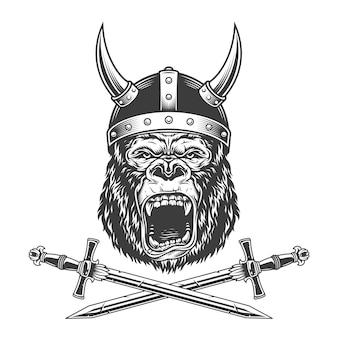 Винтажная монохромная свирепая голова гориллы