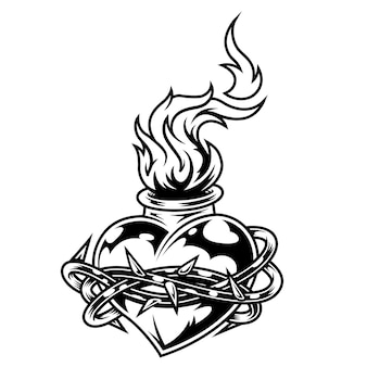 Vintage monochrome fiery heart template
