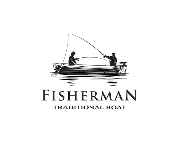 Vintage monochrome fishing logo concept with fisherman in traditional boat isolated vector