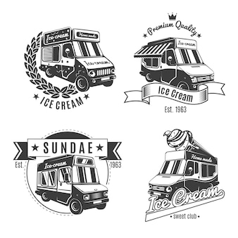 Vintage monochrome food trucks labels set