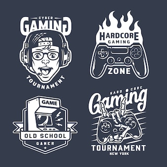 Vintage monochrome gaming emblems set