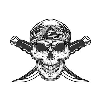 Старинный монохромный гангстерский череп в бандане