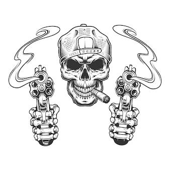 Старинный монохромный гангстерский череп в кепке