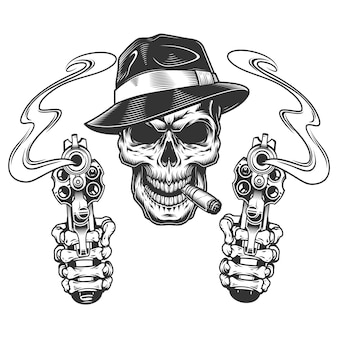 Vintage monochrome gangster skull smoking cigar