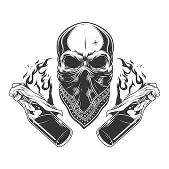 Винтаж монохромный гангстерский череп