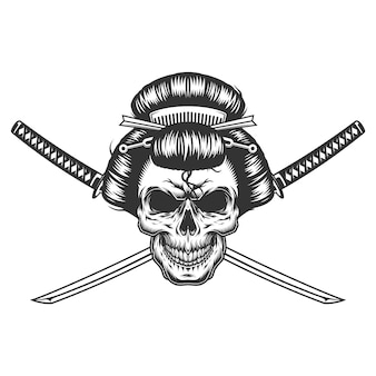 ビンテージモノクロの芸者の頭蓋骨