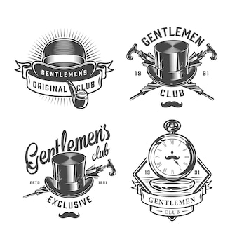 Vintage monochrome gentleman emblems set