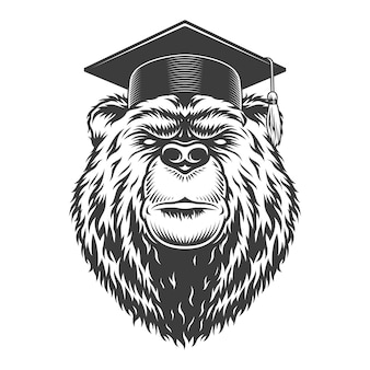 Vintage monochrome graduate bear head