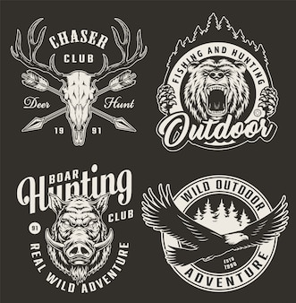 Vintage monochrome hunting club badges