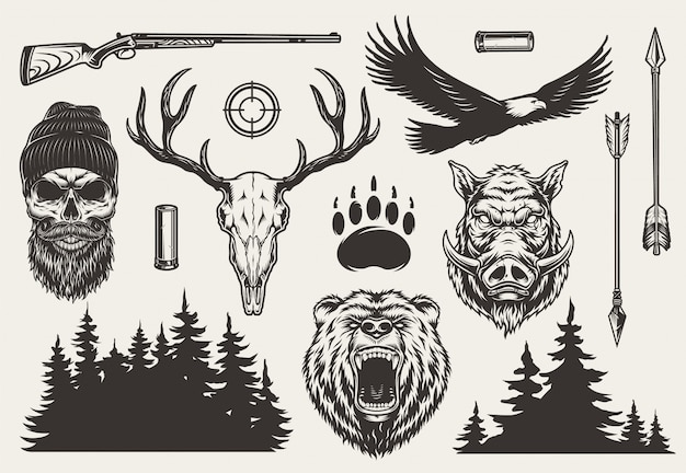 Vintage monochrome hunting elements set