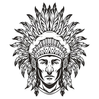 Vintage monochrome indian chief head illustration