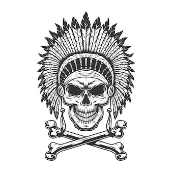 Cranio capo indiano monocromatico vintage