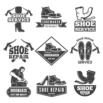 Старинные монохромные этикетки и логотипы для мастерской по ремонту обуви