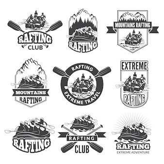 Vintage monochrome labels for dangerous water sports.