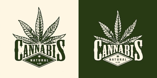 Винтажная монохромная эмблема марихуаны