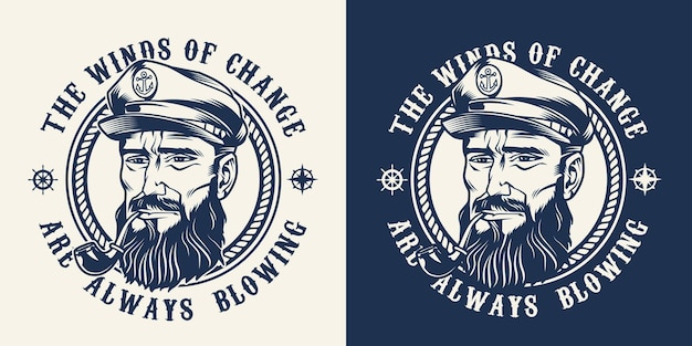 Vintage monochrome marine emblem with bearded and mustached sailor in hat with smoking pipe isolated