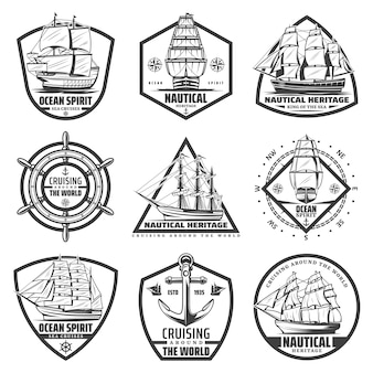Vintage monochrome marine labels set with ships vessels boats steering wheel
