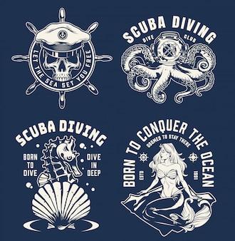Vintage monochrome marine logotypes
