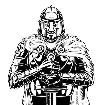 Vintage monochrome medieval warrior