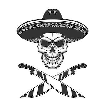Vintage monochrome mexican skull in hat