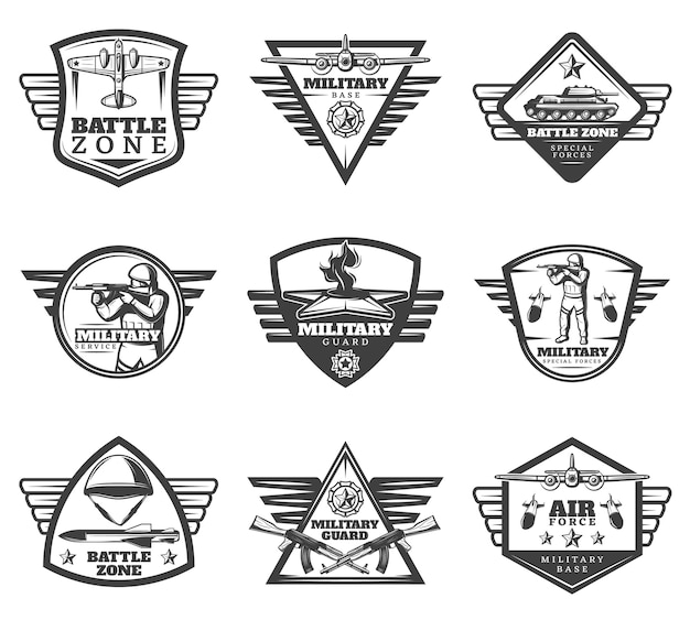 Vintage monochrome military labels set