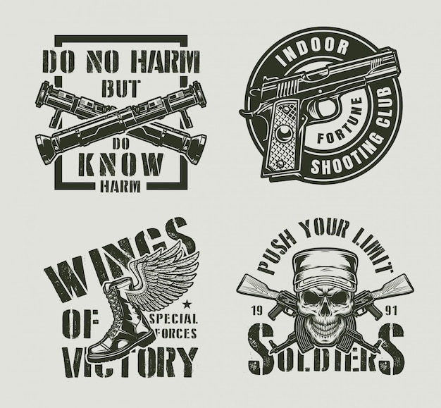 Vintage monochrome military labels
