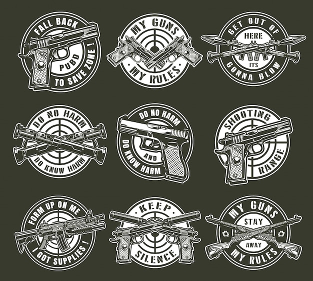 Vintage monochrome military weapons round emblems
