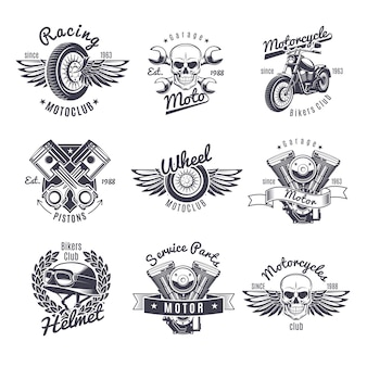 Vintage monochrome motorcycle labels set