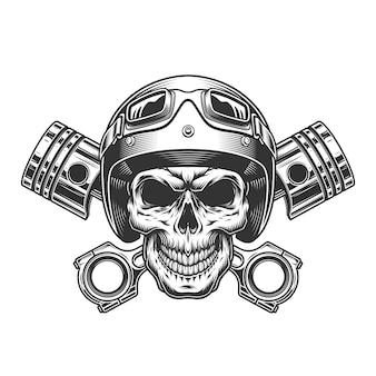 Винтажный монохромный череп мотоциклиста