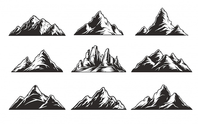 Vintage monochrome mountains set