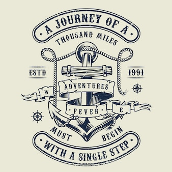 Vintage monochrome nautical emblem