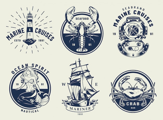Vintage monochrome nautical emblems set