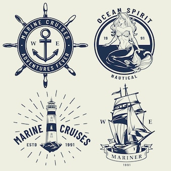 Набор старинных монохромных морских логотипов