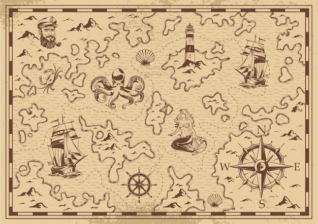 Vintage monochrome old pirate treasure map