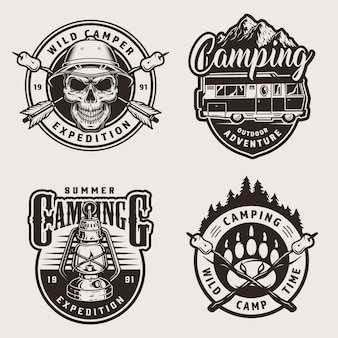Vintage monochrome outdoor recreation labels
