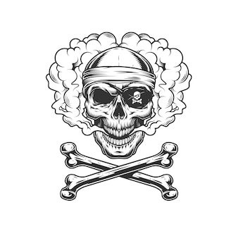 Vintage monochrome pirate skull