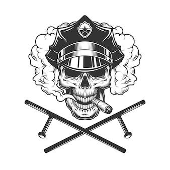 Vintage monochrome policeman skull smoking cigar