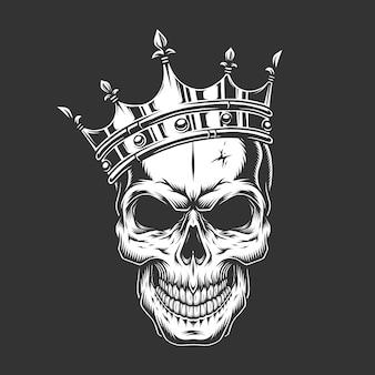 왕관에 빈티지 흑백 왕자 두개골