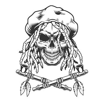 Vintage monochrome rastaman skull